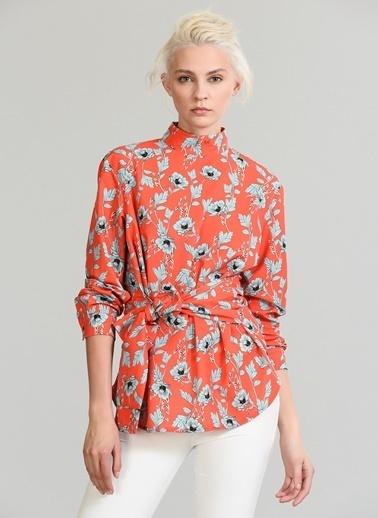 People By Fabrika Bağlamalı Desenli Bluz Kırmızı
